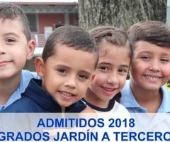 Listado de admitidos grados Jardín a Tercero